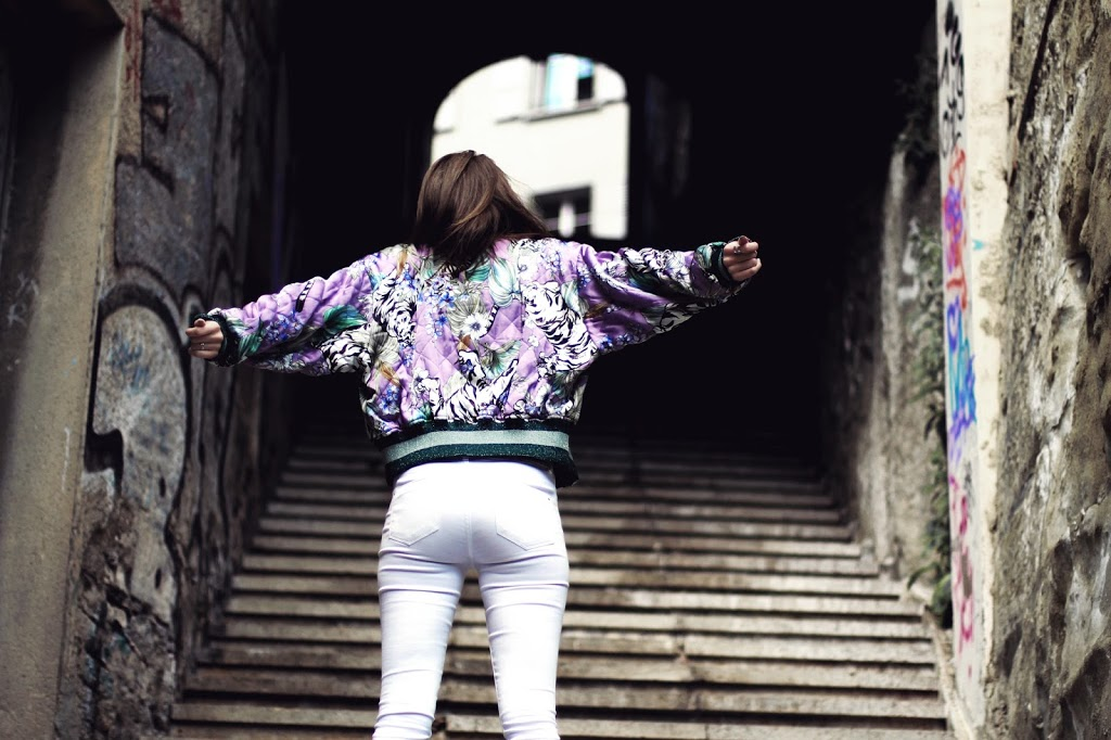 swiss fashion blogger styling statement piece bomber spring style