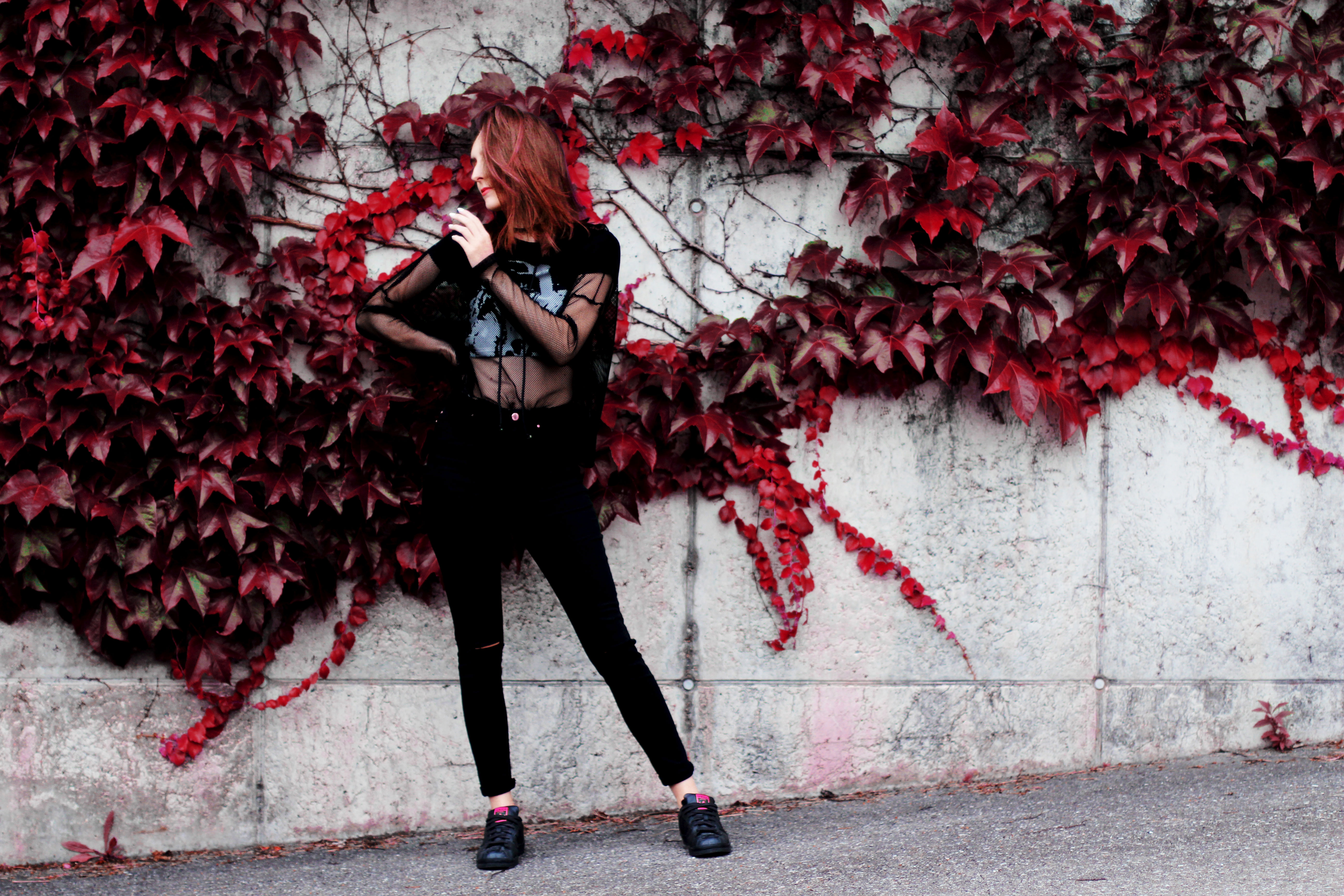 outfit of the day swiss fashion blogger cat fall trend pink hair